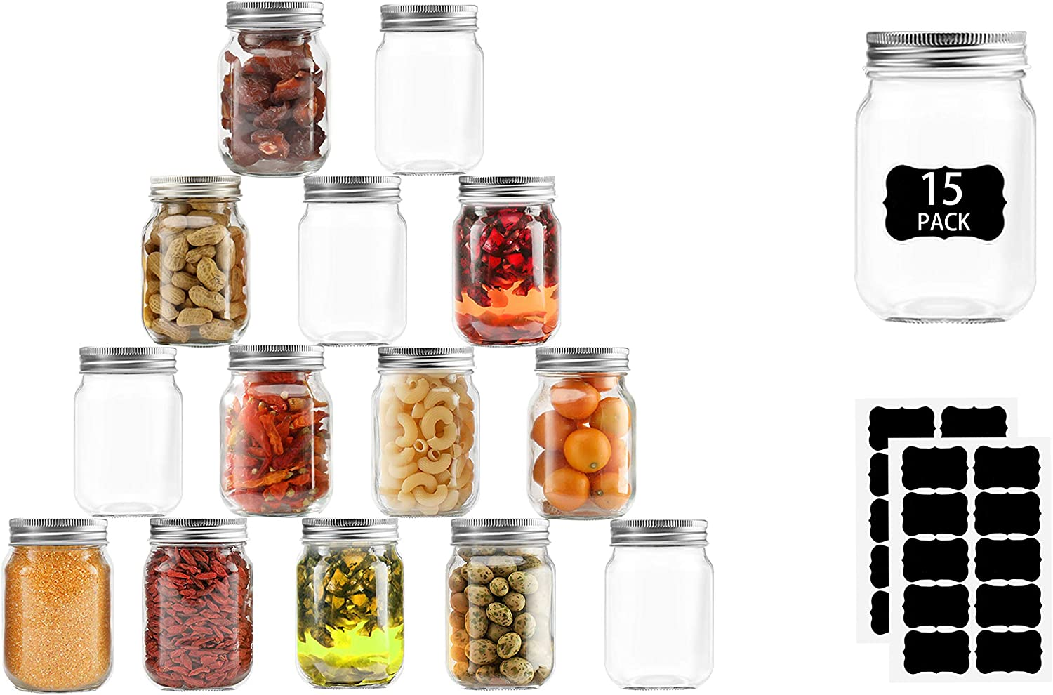 Mason jars 16 oz 15 Pack –Pint Maon Jars For Food Storage With Silver Metal Lids, Ideal For Pickle, Jam, Honey, Wedding Favors, Shower Favors, Baby Foods, Set Of 15 With 20 Labels