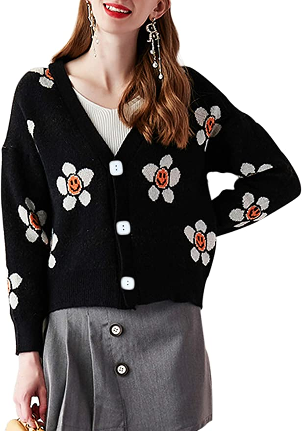 Womens Popcorn V-Neck Cardigan Button-Down Blouse Floral Print Long Sleeve Shirt Top Expandable One Size New