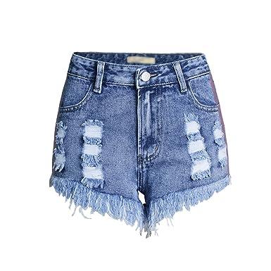 4dc47c8d89ff Lvguang Mujeres Pantalones Cortos Jeans Moda Cintura Alta Rasgados ...