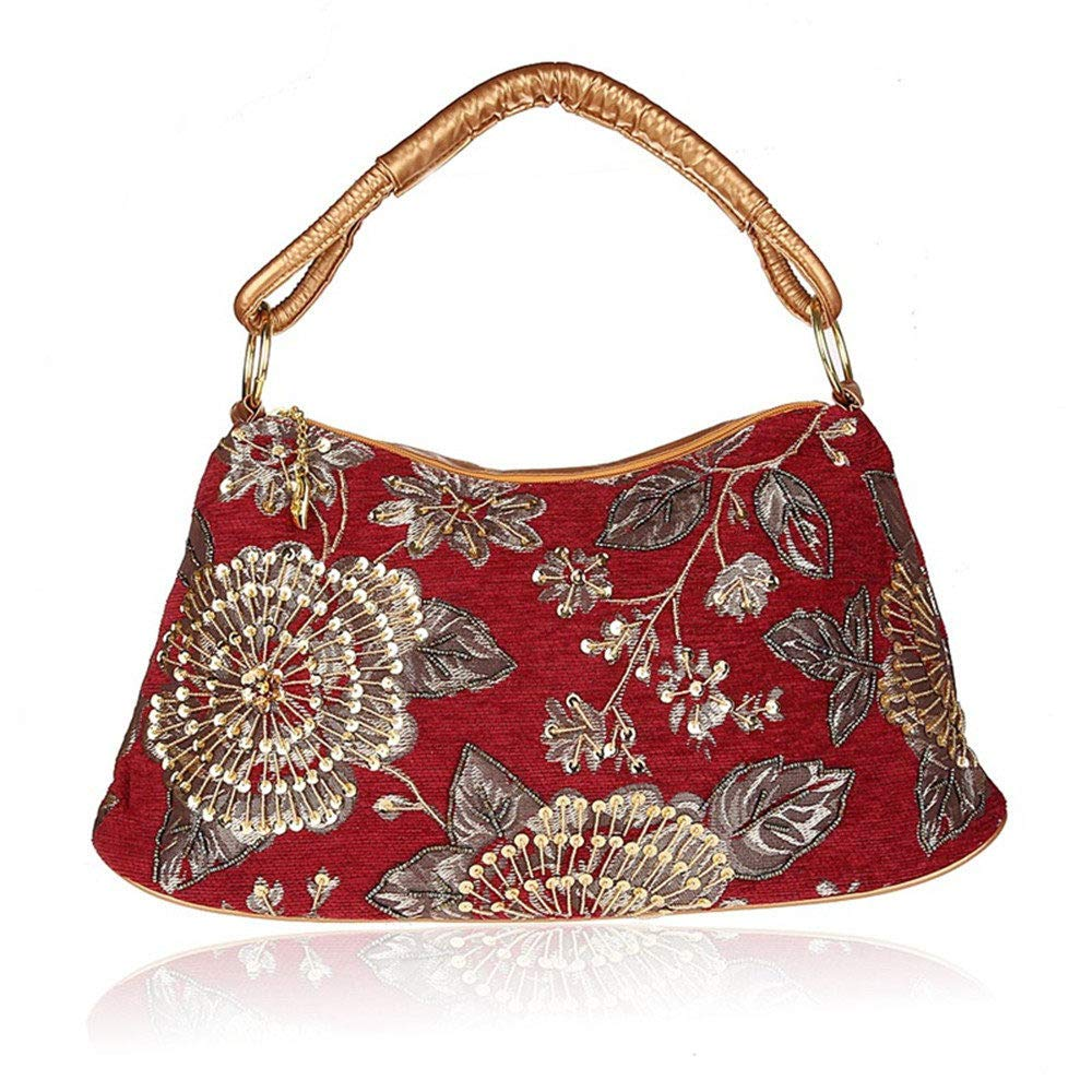 Victorian Purses, Bags, Handbags Evening Bags for Women Corduroy Material Handmade Beaded Red Clutch Bag Practical Large Capacity One Shoulder Handbag $39.99 AT vintagedancer.com