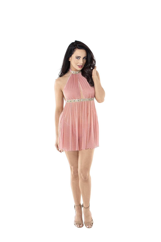 581228378ec Dreamgirl Womens Flirty Shimmer Halter Mesh Babydoll Set - blog ...