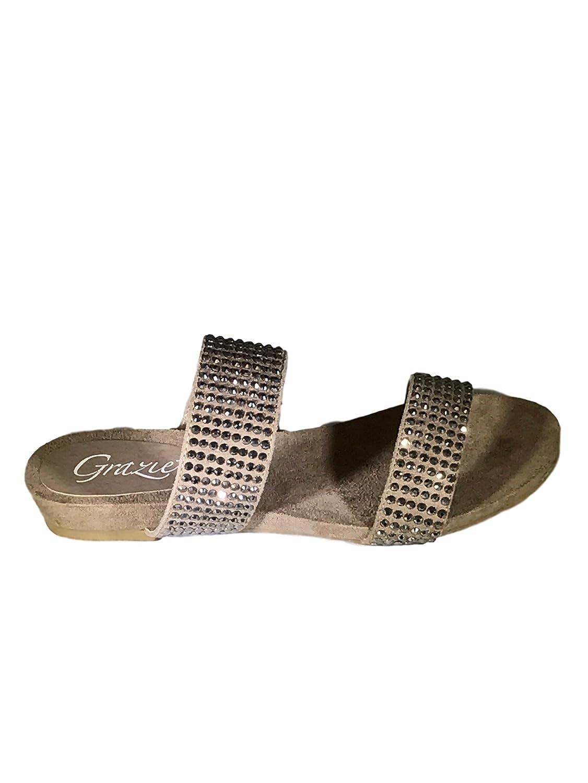 Grazie Women's Knighted Natural Embellished Open Toe Sandal B0719LJGJP 8 B(M) US|Natural