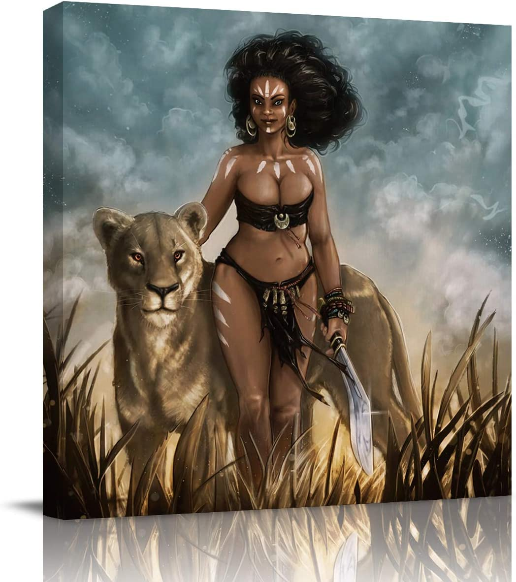 FOREVER20 Canvas Print Wall Art for Bathroom Kitchen Wall Decor African Woman Tribe Princess with Lion Picture Painting Contemporary Artwork Stretched and Framed for Bedroom 12x12in