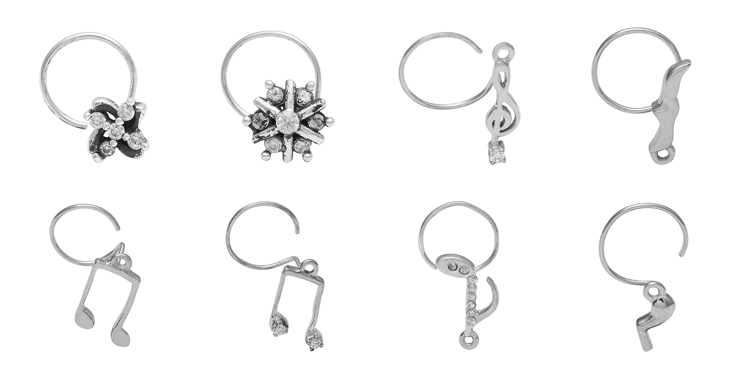 Oxidized 925 Sterling Silver Musical Sign Nose Pin for Women/Gilrs