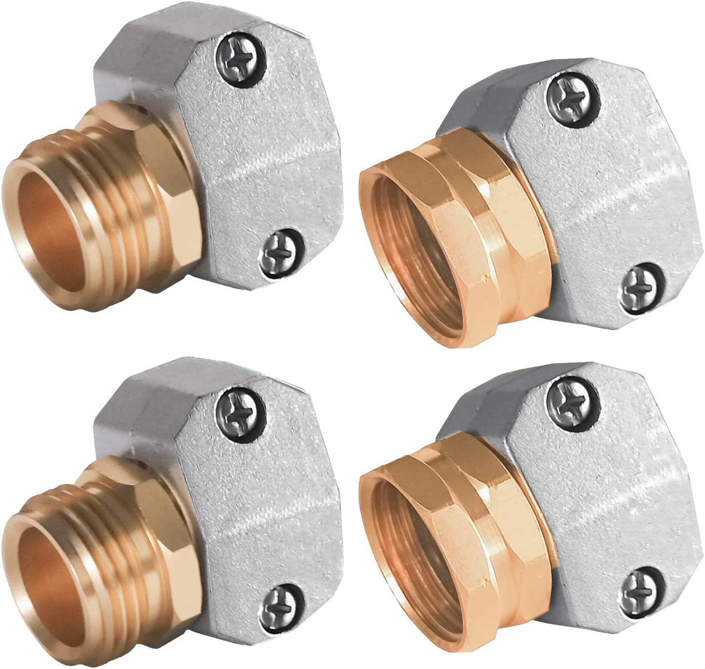 Hourleey Garden Hose Repair Fittings, Zinc and Aluminum Male and Female Hose End Water Hose Repair Connector, 4 Pack