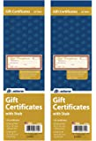 Adams Gift Certificate Book, Single Paper, 3.25 x 11 Inches, Cream, 25 Numbered Certificates (GFTBK1) (2 Pack)