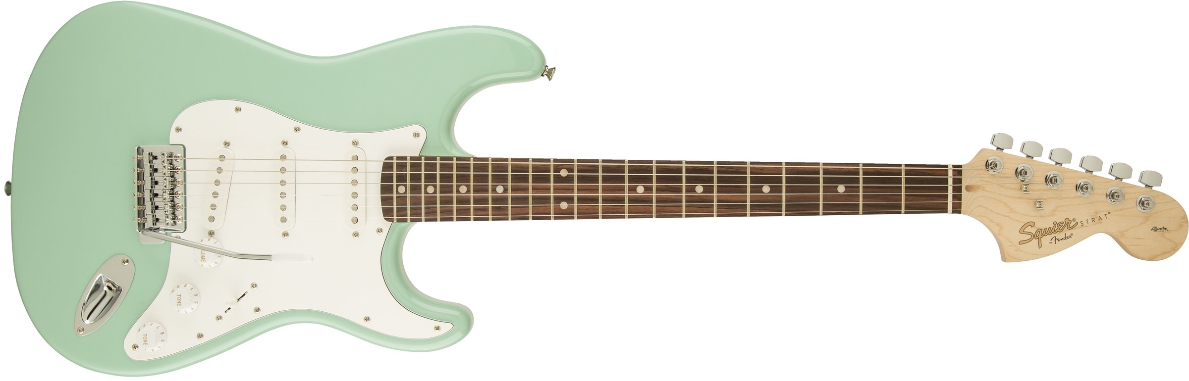 Squier by Fender Affinity Stratocaster Beginner Electric Guitar - Rosewood Fingerboard, Surf Green by Fender