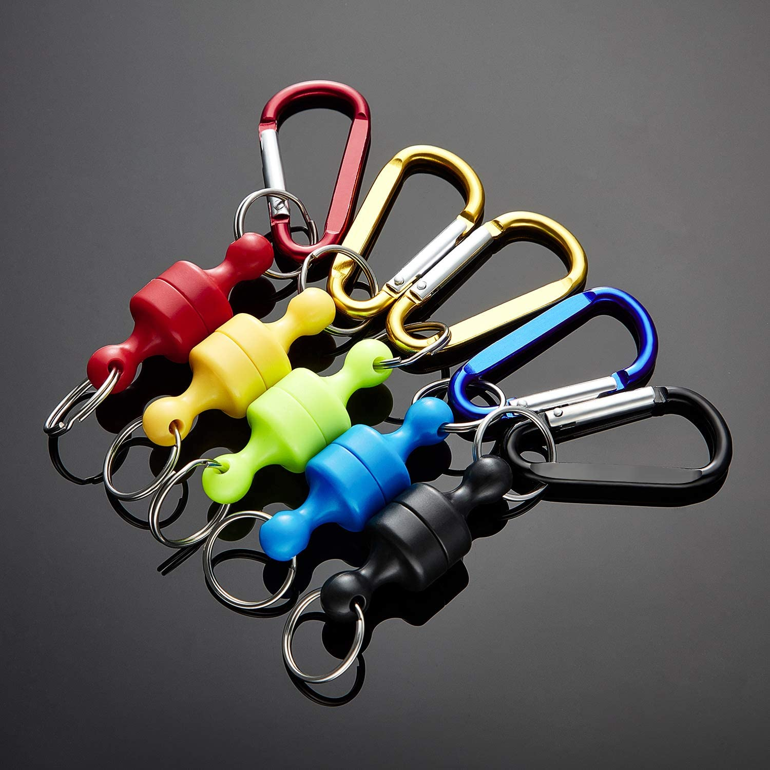 Boao 5 Pieces Magnetic Net Release Holder Net Release Clip Keychain Hook for Fly Fishing Magnet Metal Hooks