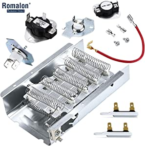 Romalon 279838 Dryer Heating Element 279816 Thermostat Kit 3977393 3392519 Thermal Fuse 3387134 Cycling Thermostat for Whirlpool & Kenmore Dryers - 279838 Replaces 3403585, 406028, 8565582, 2438