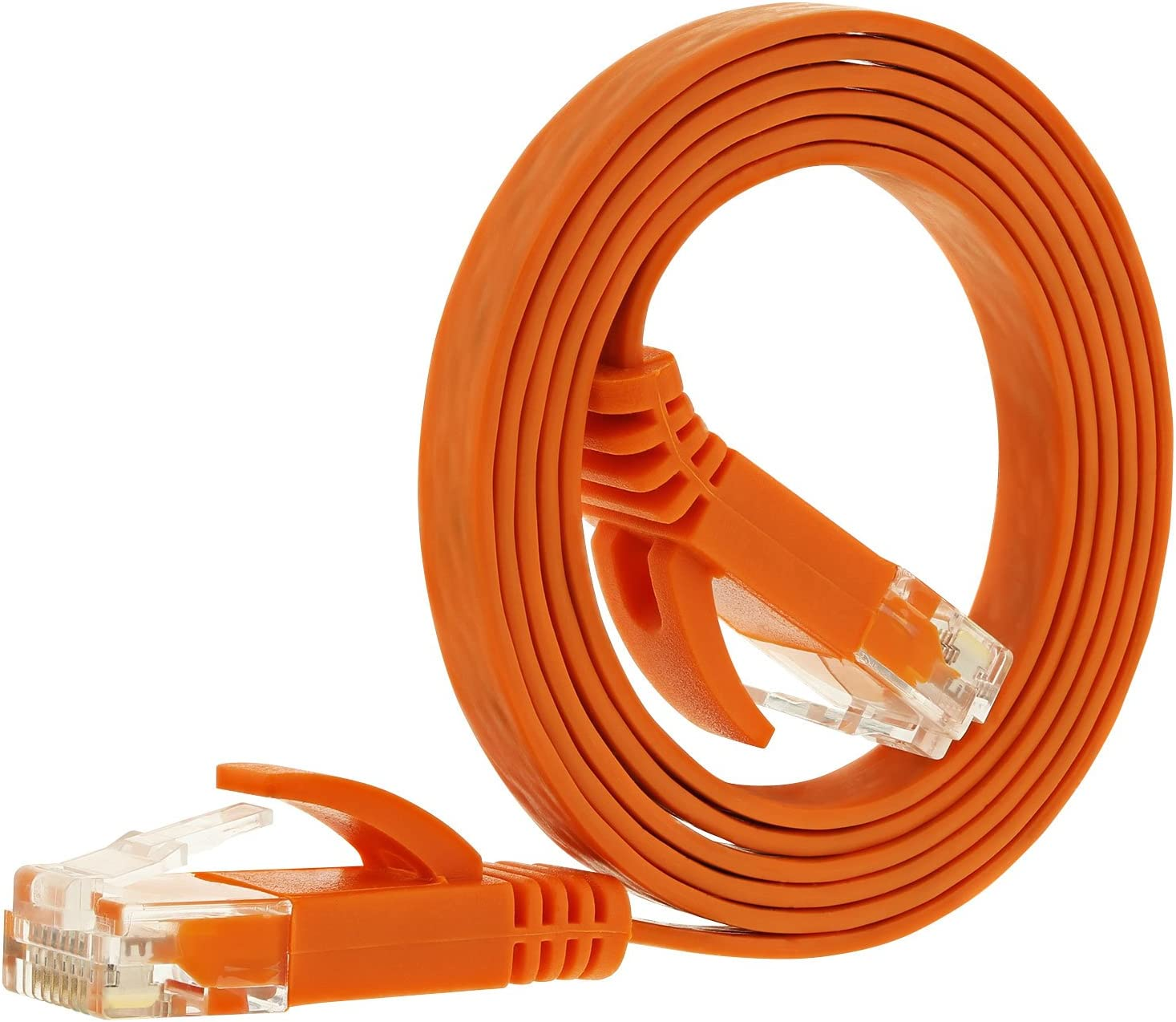 Fosmon Networking Cat5e Flat Tangle Free Ethernet Patch Cable Orange, 3 Feet
