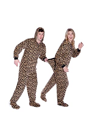 965f67251e Amazon.com  Leopard Print Adult Onesie Hoodie Plush Footed Pajamas w ...