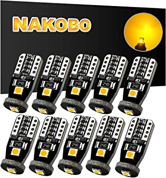 NAKOBO T10 194 168 175 2825 12961 W5W Error Free Non Polarity LED Interior Car Bulb 3SMD 3030 Chipset for Car Interior Dome Map Door Courtesy License Plate 6000K Pure White Lights Pack of 10