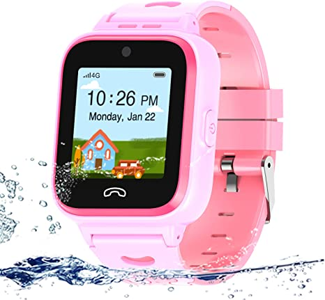 UOTO 4G Kids Smartwatch Phone with Sim Card, WiFi LBS GPS Tracker Watch Waterproof for Children with Pedometer/Remote monitoring/Game/FaceTalk/2-way ...