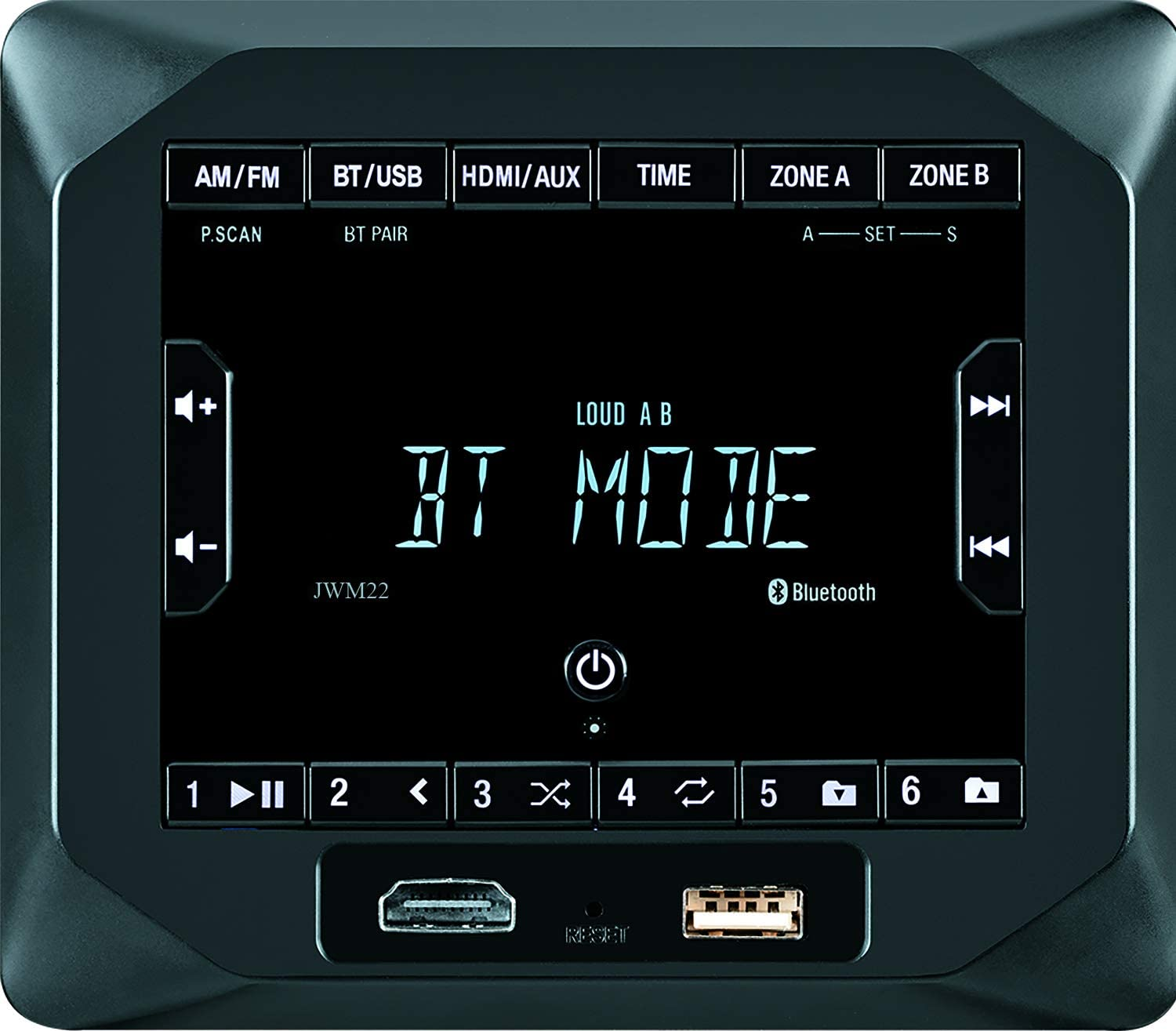 Jensen JWM22 2-Speaker Zones AM/FM|BT|HDMI|AUX Cube Wall Mount Stereo, Speaker Output 4X 6 Watt, 30 Station Presets (18FM/12AM), Receives Bluetooth Audio (A2DP) and Controls (AVRCP) from Devices