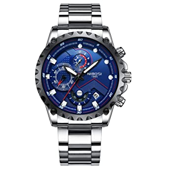 NIBOSI Mens Watches Luxury Sports Chronograph Waterproof Military Quartz Stainless Steel Wristwatches Blue Color