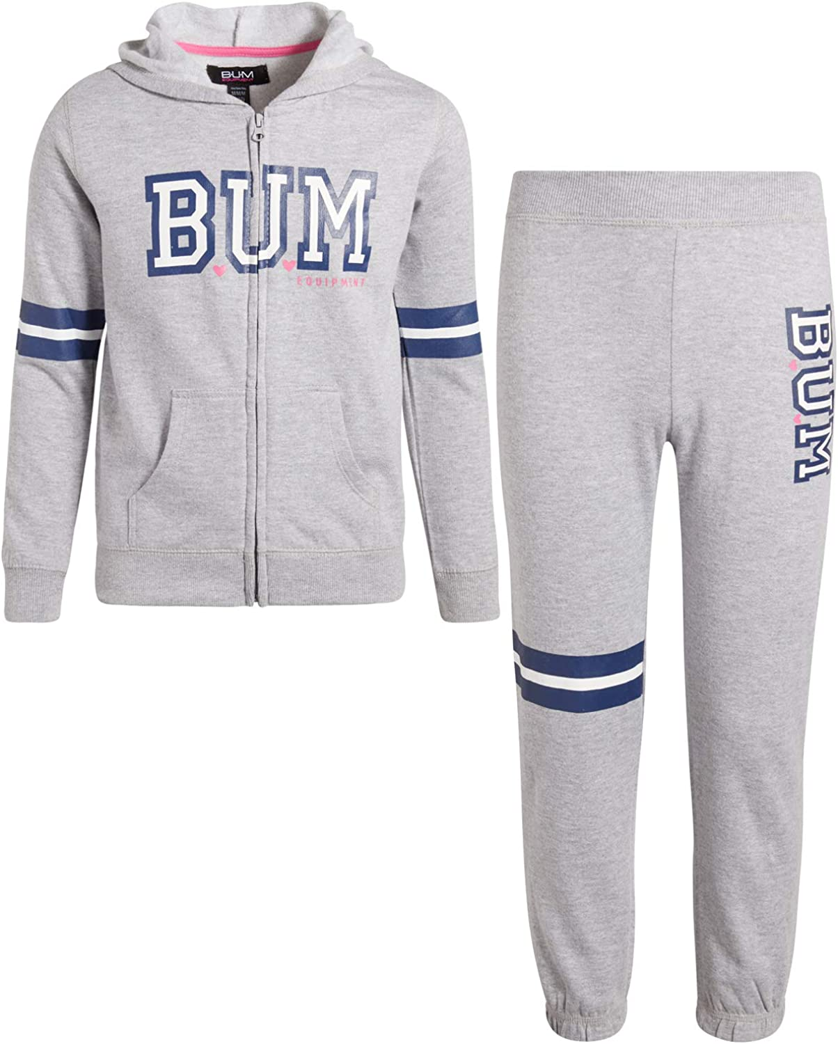 B.U.M Equipment Girls 2-Piece Athletic Jogger Pant Set with Zip Up Hoodie