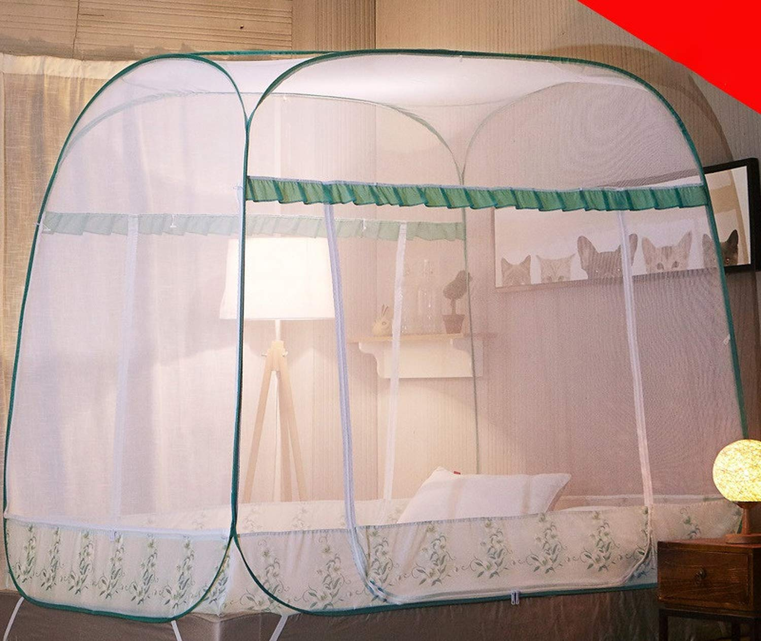 Romantic Elegant Mosquito Net for Home Decor 1.5 1.8m Double Bed Net Princess Bed Mosquito Net Tent Mesh Netting,Green Full-Bottom,1.8m (6 feet) Bed by SuWuan mosquito net (Image #6)