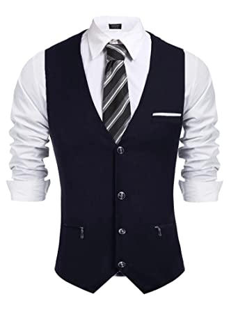 2a21b20afa4 COOFANDY Mens Business Suit Vest Slim Fit Formal Dress Suit Vest Waistcoat