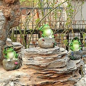 3Pcs / Set Cute Resin Frogs (Hope Peace Enjoy) Statue Garden Store Decorative Animal Sculpture Home Office Desk Sculpture Outdoor Garden Courtyard Grass Decor