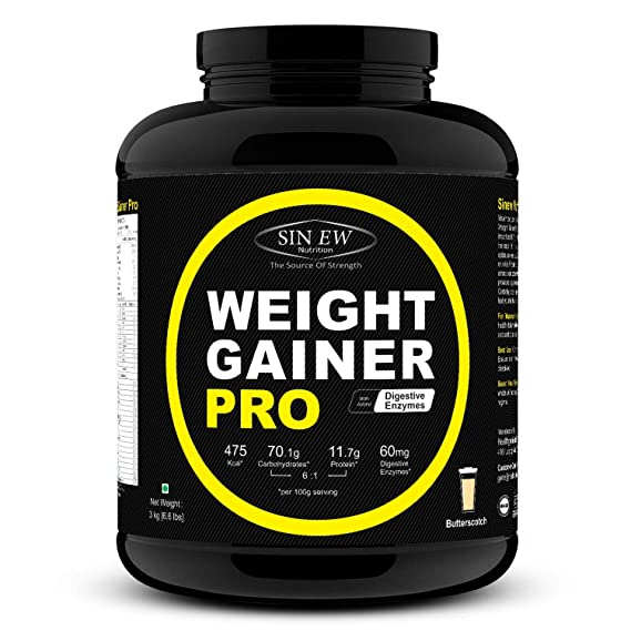 Sinew Nutrition Weight Gainer Pro with Digestive Enzymes   3 kg  Butterscotch  Mass   Weight Gainers