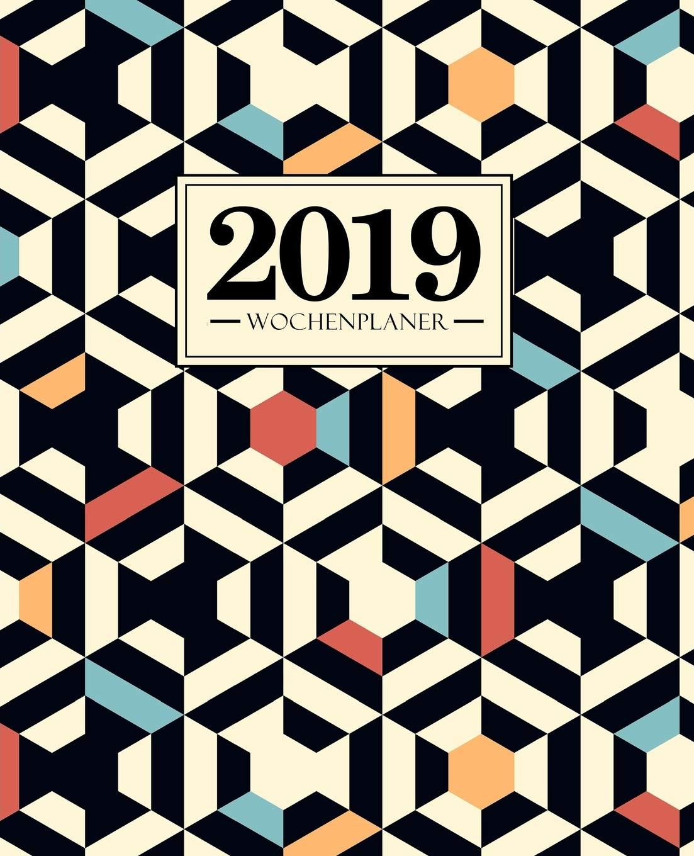 Wochenplaner 2019: 19 x 23 cm: rotes blaues orange weißes und schwarzes Muster 6644 Taschenbuch – 6. Oktober 2018 Papeterie Bleu Gray & Gold Publishing 1640016643