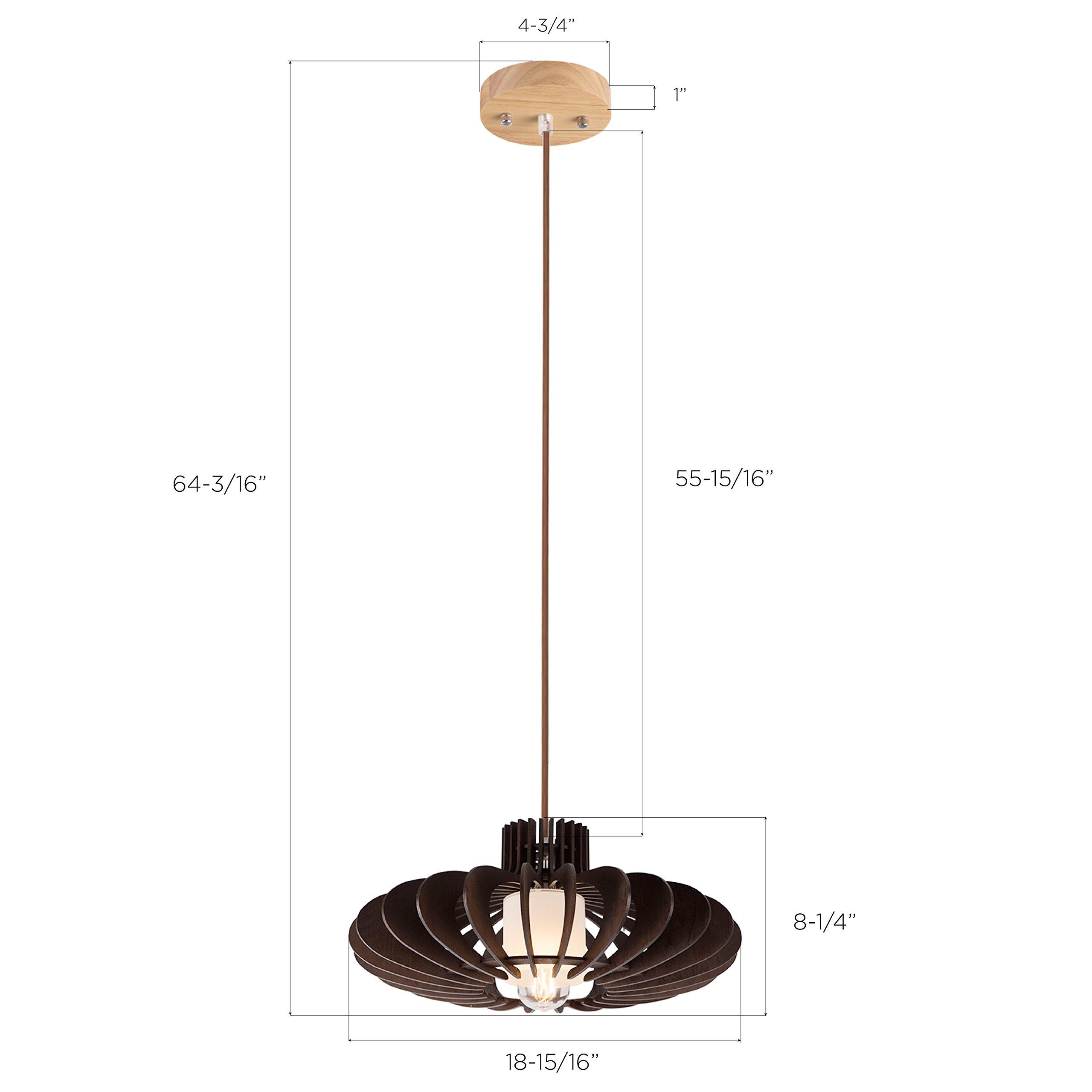 MAYKKE Oban Medium Wooden Pendant Lamp   Lantern Style with Dark Brown Rings, Hanging Light with Adjustable Cord   Walnut Wood Finish, MDB1040201 by Maykke (Image #6)