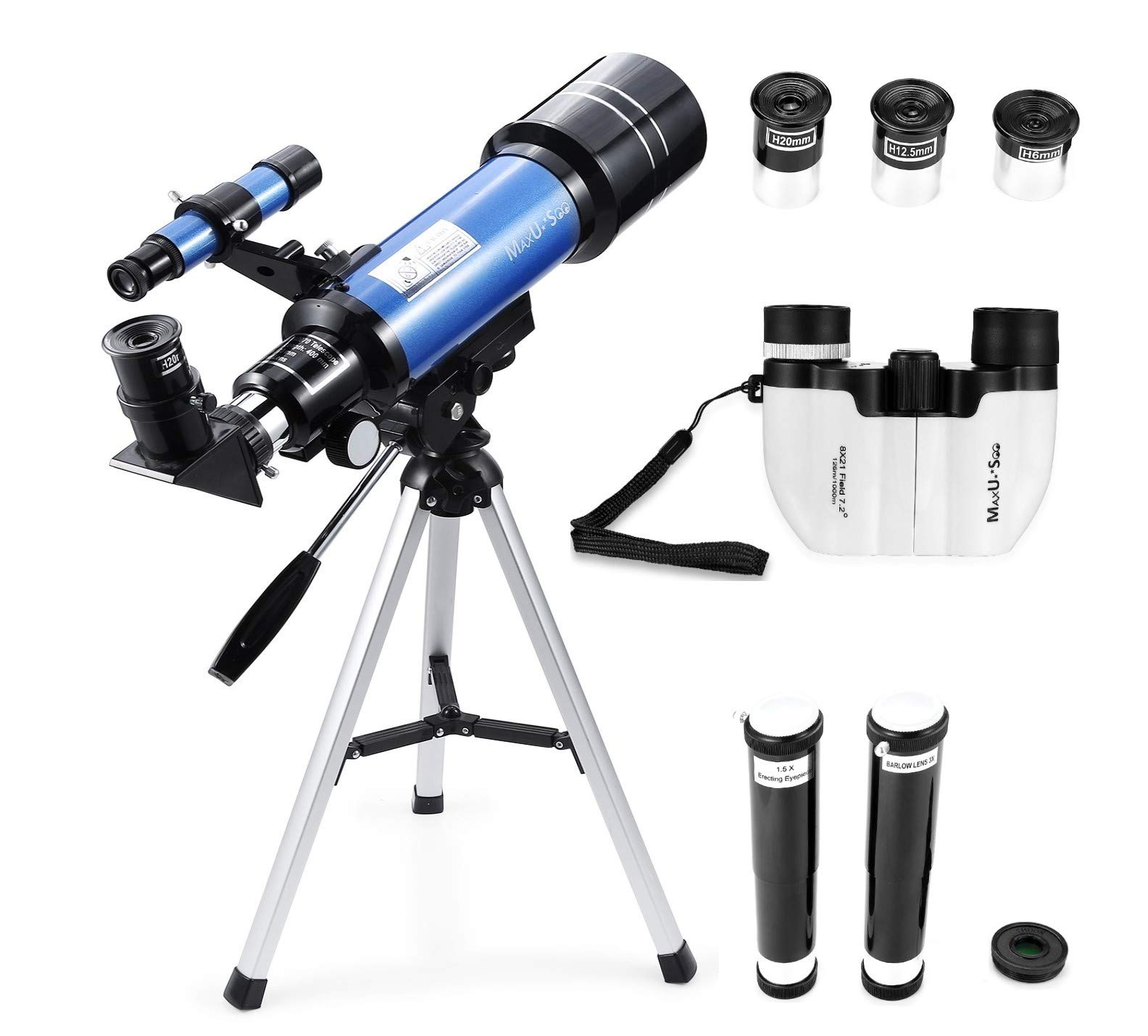 MaxUSee 70mm Refractor Telescope + 8X21 Compact HD Binoculars for Kids and Astronomy Beginners, Travel Scope for Moon Stars Viewing Bird Watching Sightseeing by MaxUSee