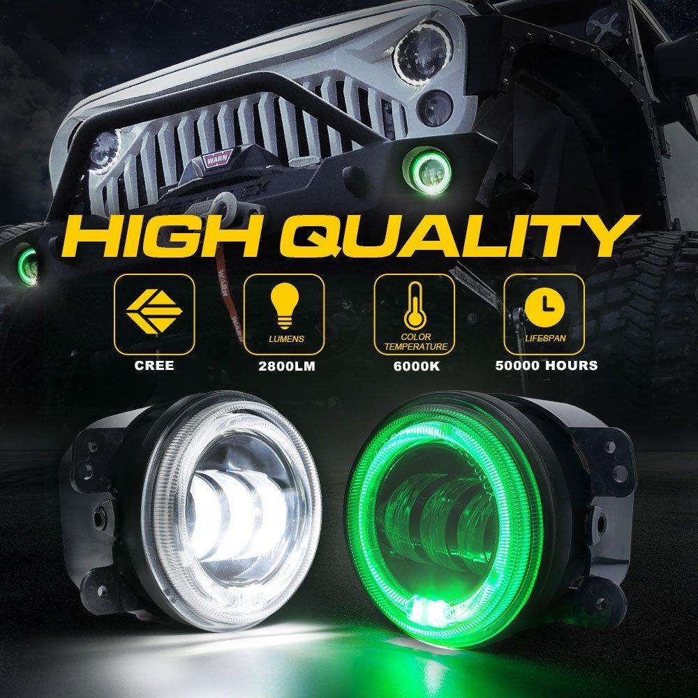 60W CREE LED Chip 4332999545 Xprite 4 LED Bluetooth Fog Light w//RGB Halo Angel Ring for 2007-2018 Jeep Wrangler JK