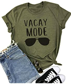 b41f01335cf67 YUYUEYUE Vacay Mode Sunglasses Letter Print T-Shirt Casual Short Sleeve Top  Tee Blouse