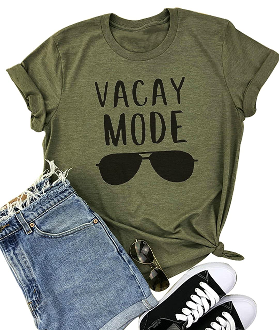 Yuyueyue Vacay Mode Sunglasses Letter Print T Shirt Casual Short