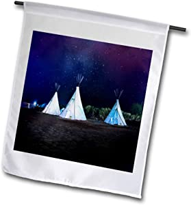 3dRose 2 Travel – Camping, Hiking, Biking Activities - Three Teepees Under The Nighttime Stars Tent Camping - 12 x 18 inch Garden Flag (fl_311412_1)
