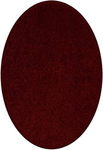 Home Queen Solid Color Burgundy Area Rug – 6 x9 Oval