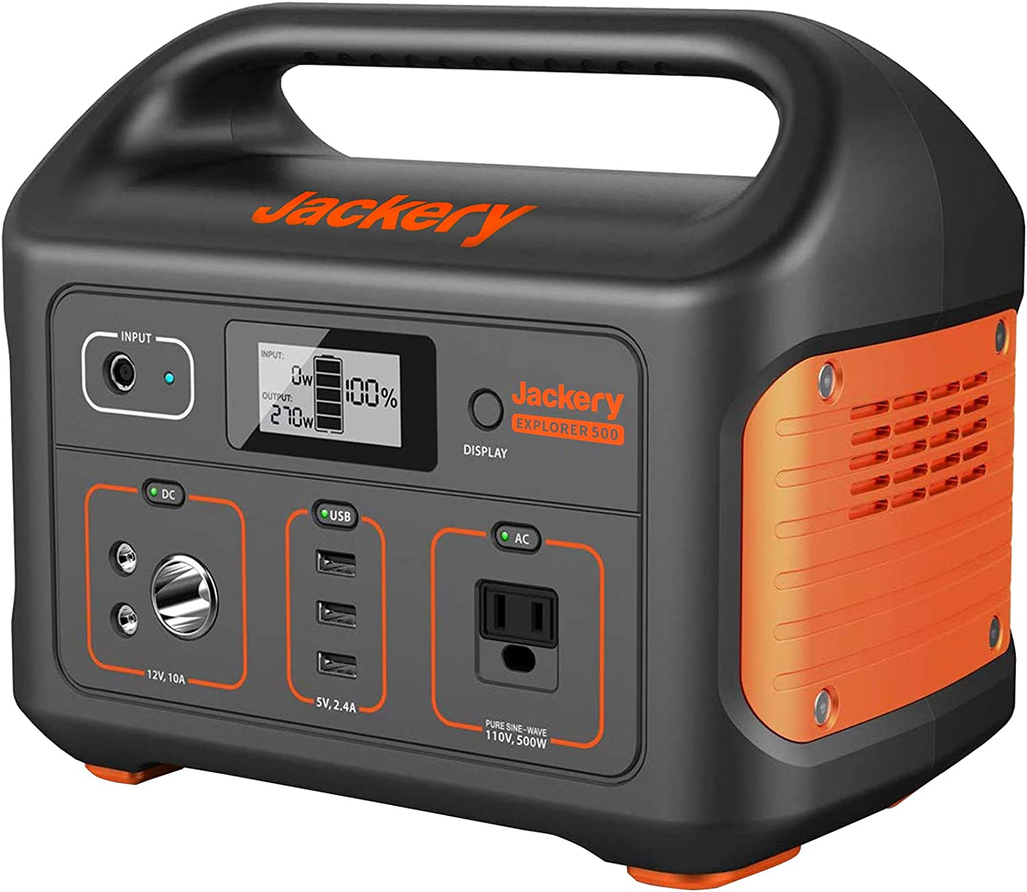 Jackery Portable Power Station Explorer 500, 518Wh Outdoor Solar Generator Mobile Lithium Battery Pack with 110V/500W AC Outlet (Solar Panel Optional) for Road Trip Camping, Outdoor Adventure : Garden & Outdoor
