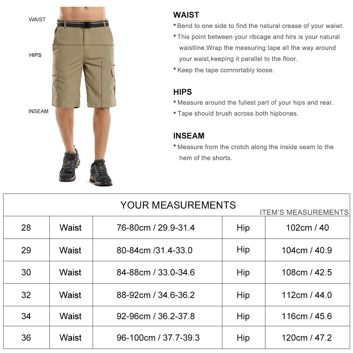 Travel 6222,Khaki,34 Shorts for Men,Casual Quick Dry Lightweight Tatical with Pockets Zipper Pockets Hiking Camping