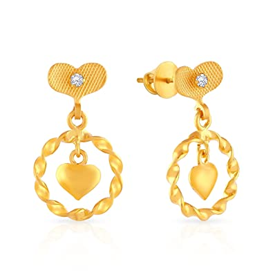 1701dbe78 Buy Malabar Gold and Diamond Malabar Collection 22K (916) Yellow Gold and Cubic  Zirconia Stud Earrings Online at Low Prices in India | Amazon Jewellery ...