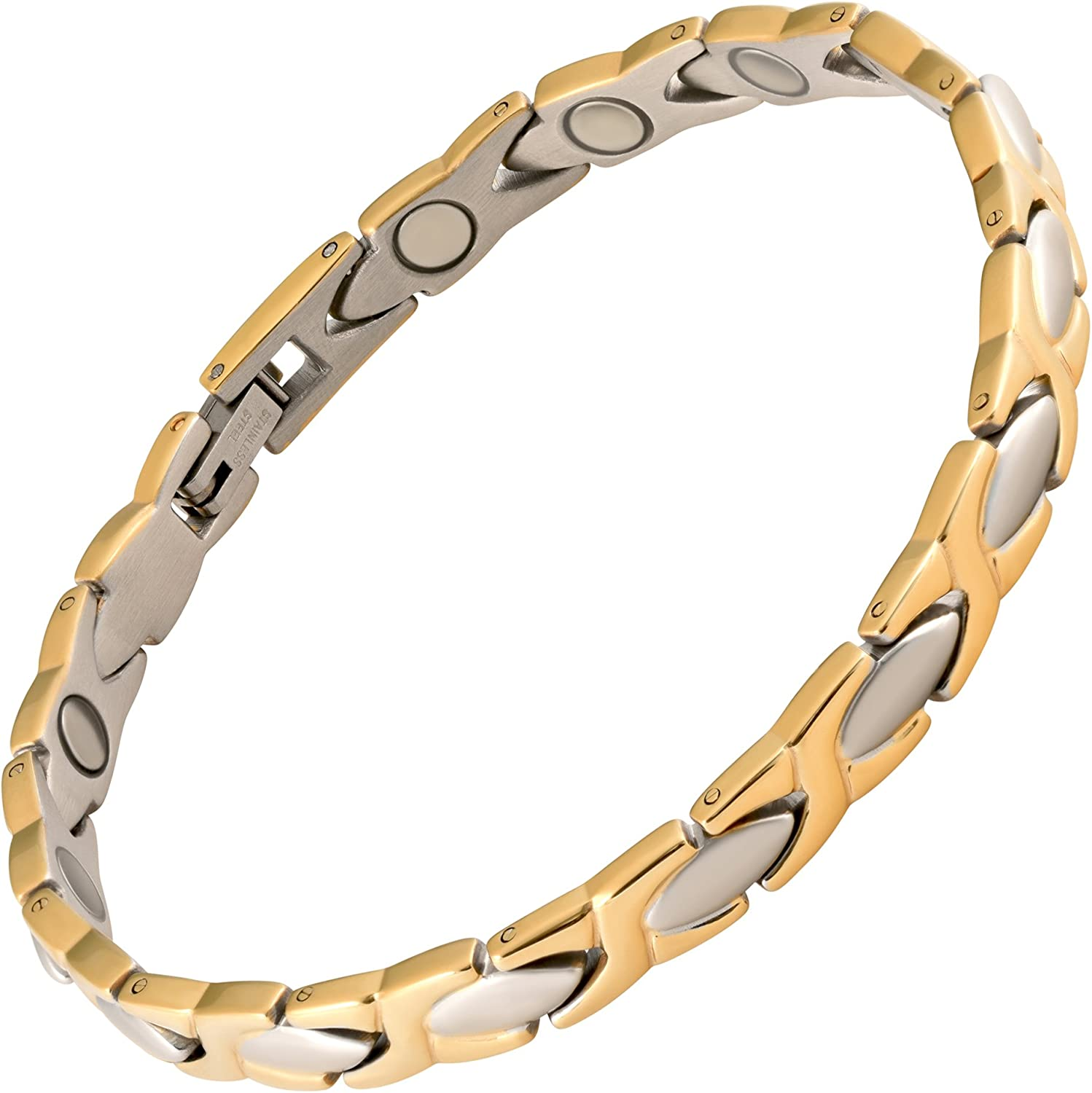 MAGNETJEWELRYSTORE Magnetic Therapy Bracelet Stainless Steel 2 Tone XOXO: Health & Personal Care