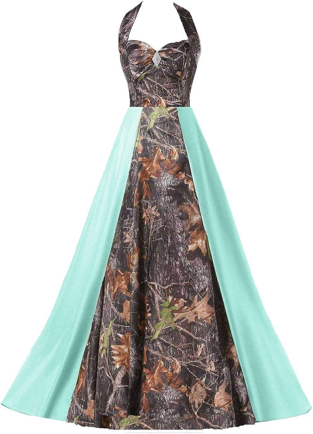 DINGZAN Floor Length Camo Beach Wedding Dresses Formal Bridesmaid Gowns