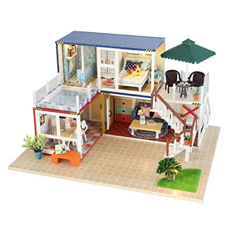 Dovewill Wood 3D Japanese Style Dollhouse Furniture Kits With Dust Cover U0026  LED Light Doll Room