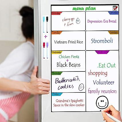 TTMOW Pizarra Magnética de Frigorífico para Tablero de Mensajes,Cocina Nevera/Sala/Aula para Planificador Ideal Planificador de Menú,Lista de la ...