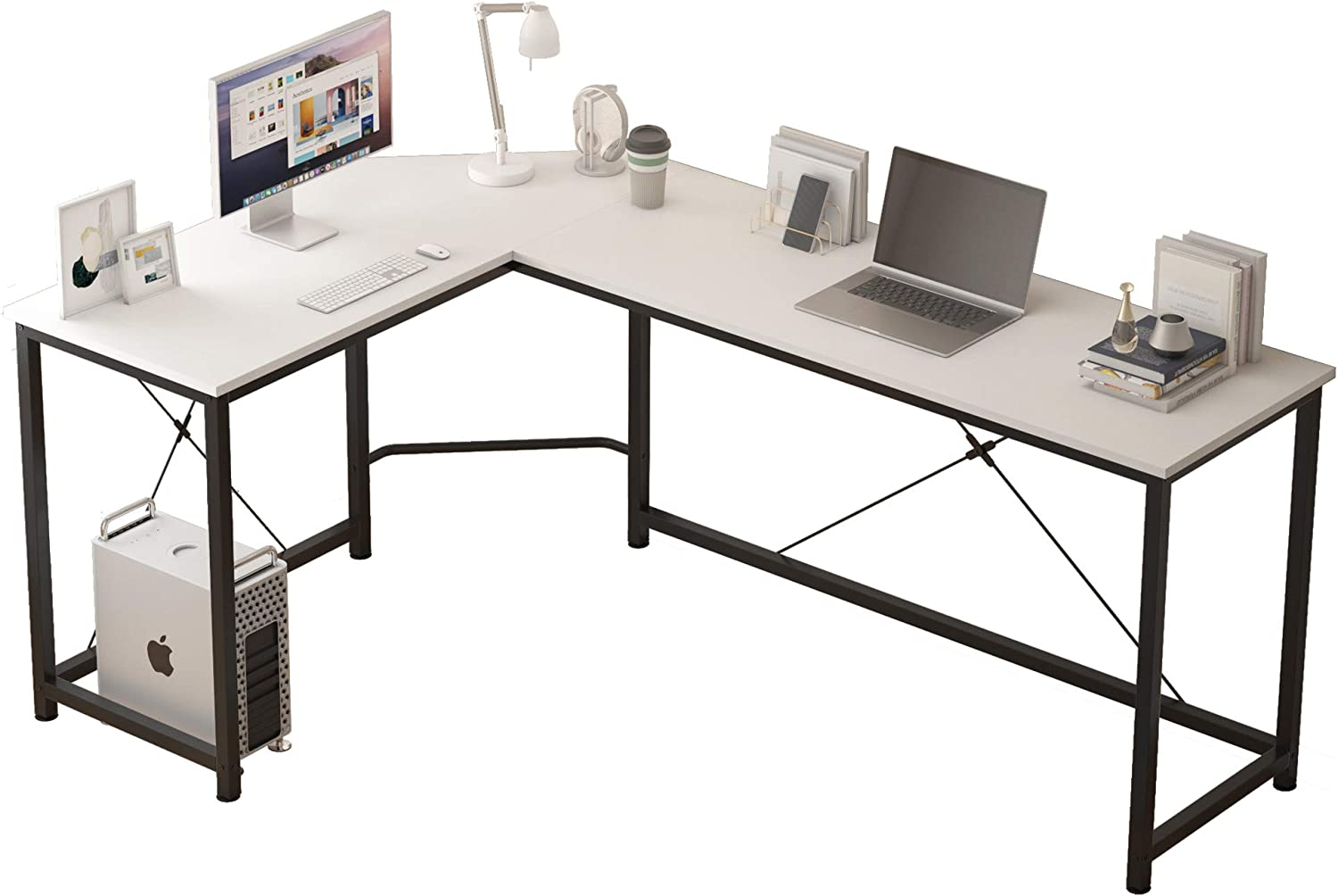 L Shaped Computer Desk Home Office Corner Desk of Spacious Desktop for Small Space Study Desk Gaming Desk Side Table with X Rods Sturdy Enhancement (White)
