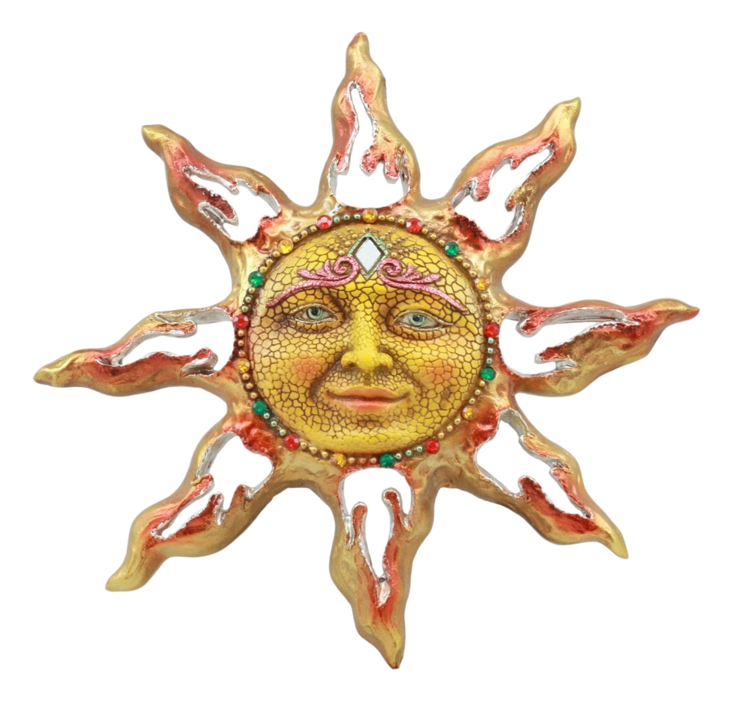 "Ebros Beautiful Mosaic Celestial Solar Radiant Surya Sun God Wall Decor 11""Wide 3D Figurine Home Decor Sun Face Wall Plaque"