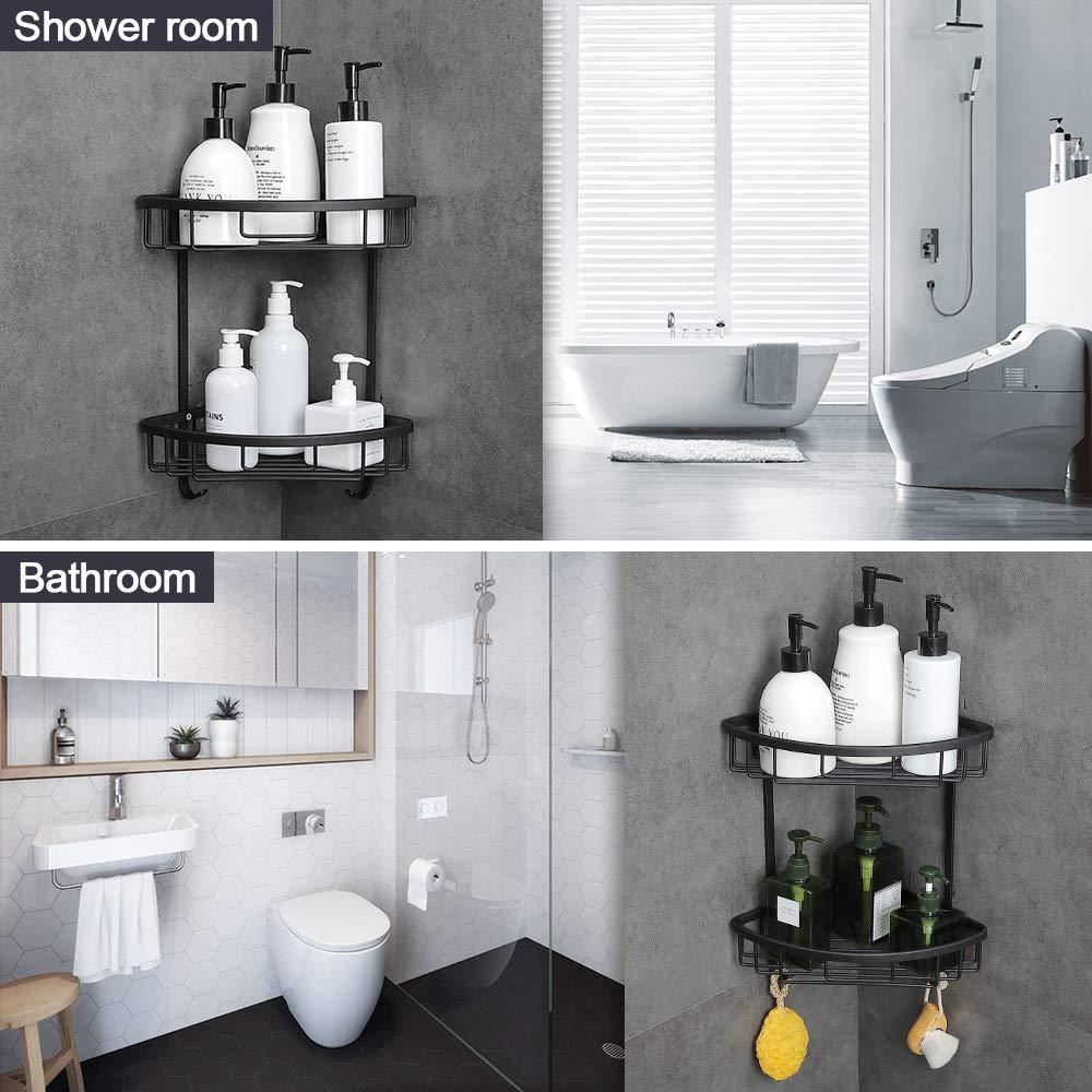 Gricol Bathroom Shower Corner Shelf No Drilling Shower Caddy Black Adhesive Suction 2 Tiers