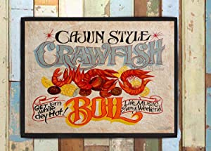Judy554Bart Crawfish Boil Print from an Hand Painted and Lettered Sign. Cajun Decor, Louisana, New Orleans, French Food Decor