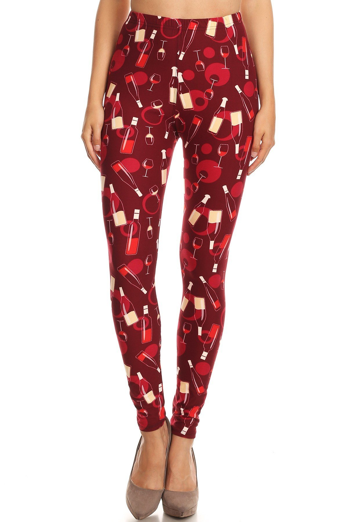iZZYZX Women's 3 X 5X Wine Glass and Bottle Pattern Printed Leggings