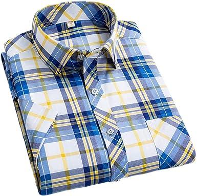 Camisas de Manga Corta para Hombres Camisa Casual a Cuadros ...