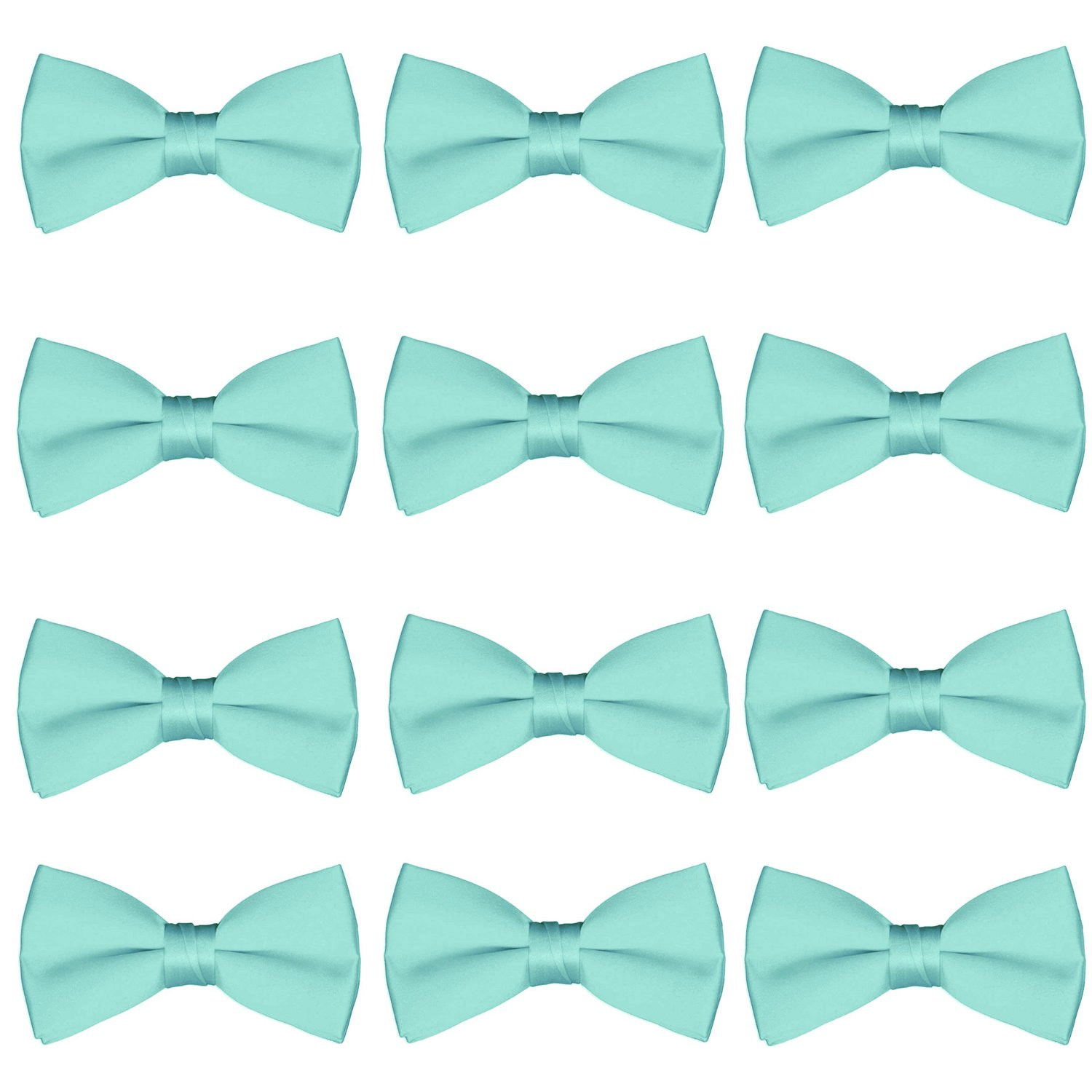 Boys Bow Tie Wholesale 12 Pack Children Chorus Pre-Tied Bowties Kids Tuxedo Solid Ties (Mint)