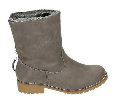 37aa6a307a9e32 King Of Shoes Damen Stiefeletten Flache Schlupf Boots Schlüpfer Blockabsatz  Warm Gefüttert 913 (36