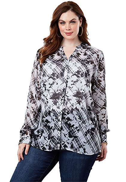 7c9f7ffb6cb Roamans Women s Plus Size Sheer Crinkle Tunic at Amazon Women s Clothing  store