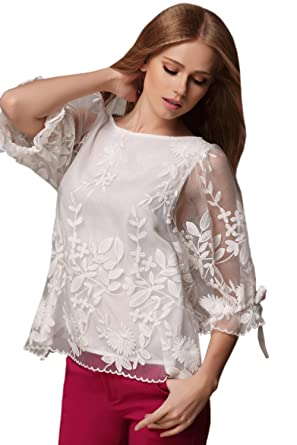 aadbc576babf0 Unomatch Women Rounded Lace Neck Casual Shirt and Blouse White (XXS, White)