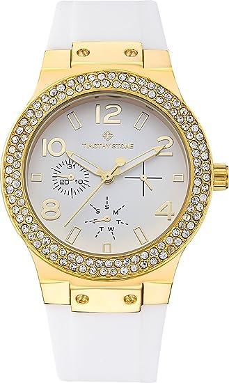 Timothy Stone Collection FAÇON Silicone - Reloj Mujer de cuartzo (Color Oro/Blanco)